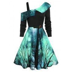 Gothic Dress Starry Sky Pattern Skew Neck Asymmetrical A-Line Dress, Deep Green / L - Jewelry Design Jewelry design 2020 Jewelry Ideas 2020 Teen Fashion Outfits, Mode Outfits, Girl Outfits, Fashion Dresses, Club Outfits, Cute Prom Dresses, Pretty Dresses, Beautiful Dresses, Maxi Dresses