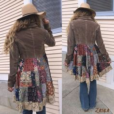 Bohemian style short jacket with added bottom in patchwork pattern with lace on hem.