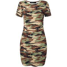 Camouflage Printed Short Sleeve O Neck Irregular Hem Mini Dress (€8,84) ❤ liked on Polyvore featuring dresses, army green, short sleeve summer dresses, long-sleeve mini dress, camouflage dresses, short mini dress and short sleeve dress