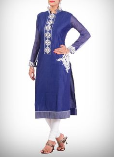 Pleasing Blue Silk Cotton Long #Kurti