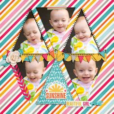 5 Image digital scrapbooking layout. credits: Little Ray of Sunshine by Meghan Mullens and Mommyish Designs