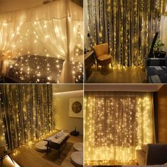Curtain Lights, IMAGE 9.8ft x 9.8ft Power Driver LED String Lights with 8 Modes for Christmas/Halloween/Wedding/Party Backdrops - FULL Waterproof & UL Safety Standard #lights #lighting #lightingdesign #electronics #decor #decorating #homelighting #improvement #homeimprovement #homeimprovementideas #homeimprovementtips #music #musicinstruments #art #arts #crafts #diy #homedesign #lightingdesign #lightingdecor #homedecor #homedecoration #homedecorating #decoration Led Curtain Lights, Icicle Lights, Led String Lights, Window Lights, Curtains With Lights, Fairy Lights Ceiling, Twinkle Lights Decor, String Lights In The Bedroom, Bedroom Decor For Women
