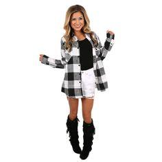 Cozy For Days Unisex Flannel White | Impressions Online Women's Clothing Boutique #shopimpressions @shopimpressions