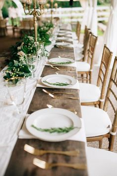 Love the long tables! Refined Al fresco farm with a touch of gold #cedarwoodweddings Softly Lit Outdoor Wedding :: Elizabeth+Charlie | Cedarwood Weddings