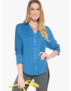 Looking Good Button Up Top  Teal