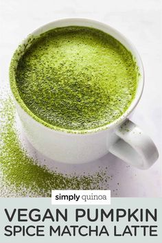 This vegan pumpkin spice matcha latte is the perfect warm beverage recipe to start your day with. Skip the coffee and try this energizing, healthy drink instead! Naturally sweetened with maple syrup and made in the blender.