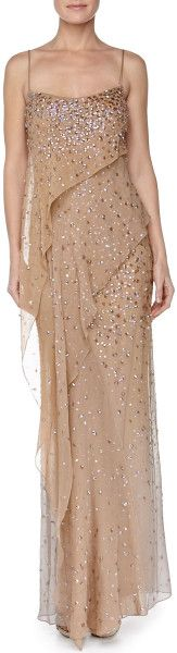 Donna Karan New York Embroidered Asymmetric Draped Evening Gown Nectar in  (NECTAR) - Lyst     jaglady