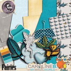 Fairies       An adorable fairie kit for your wonderland pages !  Including :  - 5 papers  - 8 elements (some are hand-drawn)  - 1 paintchip.    -----    Un kit féérique adorable pour vos pages fantastiques !  Comprend :  - 5 papiers  - 8 elements (dont certains dessinés par moi-même)  - 1 nuancier.          http://carolineb.fr/index.php?main_page=product_info&products_id=664