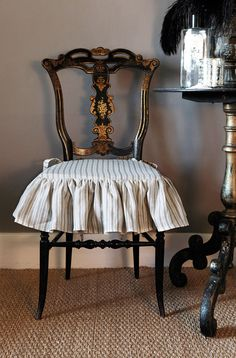Miss Mustard Seed The Chairs With The Ticking Skirts Http Amazing Custom Dining Room Chair Cushions Design Inspiration