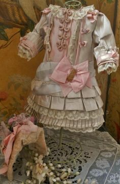 ~~~ Pretty French Silk Bebe Costume with matching Couture Bonnet ~~~ from whendreamscometrue on Ruby Lane