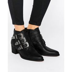 ASOS RYDER Leather Buckle Ankle Boots (€92) ❤ liked on Polyvore featuring shoes, boots, ankle booties, black, leather ankle boots, black booties, black boots, black bootie boots and black bootie