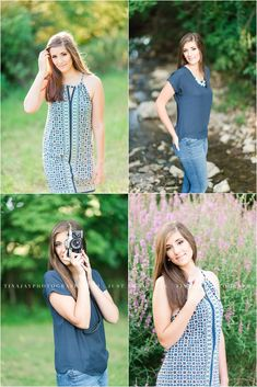 A natural summer senior sessions along a creek and purple flowers, featuring a vintage camera. Photographed by Tina Jay Photography in Mechanicsburg Pennsylvania.