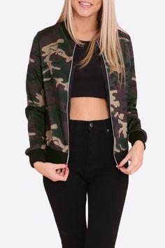Fashion Camouflage Pattern Bomber Jacket