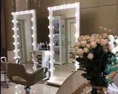 Make Up Desk Vanity, Makeup Vanity Mirror With Lights, Makeup Table Vanity, Lighted Vanity Mirror, Mirror Vanity, Hollywood Mirror With Lights, Hollywood Vanity Mirror, Hollywood Makeup, Hollywood Style