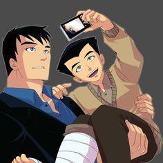らくがき。骨折記念に写真を撮る。 Bruce & Dick (The Batman) Wear a... at Graffiti book