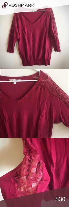 "Lauren Conrad Lace Shoulder Sweater Pre-Owned; worn minimal times. Beautiful red sweater with Lace shoulders/arms by Lauren Conrad. 3/4 sleeve. Size Large. 60% Cotton, 40% Rayon. Lace is 100% Nylon. Armpit to armpit: approx 21"". Length top to bottom: 27"". LC Lauren Conrad Sweaters Crew & Scoop Necks"
