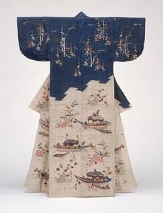 Summer robe (katabira) - Edo Period [Japan] Looks like its made of linen with embroidery. Traditional Japanese Kimono, Traditional Dresses, Edo Period Japan, Kimono Design, Japanese Embroidery, Hand Embroidery, Embroidery Patterns, Japanese Outfits, Japanese Clothing