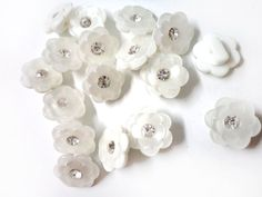 30Pcs White Floral Shape Buttons with Middle by Craftasy on Etsy, $7.00