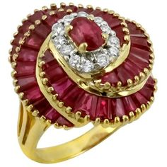 Oval & Baguette Ruby Round Diamonds 18k Yellow Gold Ring By Le Vian