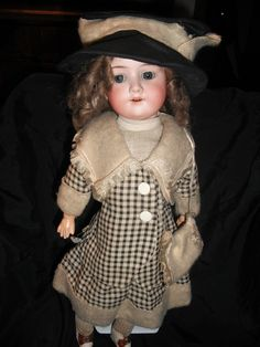"Antique German Bisque Head Doll 17 5"" A M Armand Marseille 390N 246 1 Jointed 