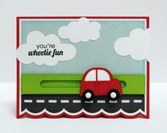 Lori Whitlock Interactive Car Slider Card by Mendi using Echo Park's We Are Family Collection.