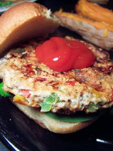 Southwestern Turkey Burgers:  4 servings; 100 calories, 2 g fat per serving