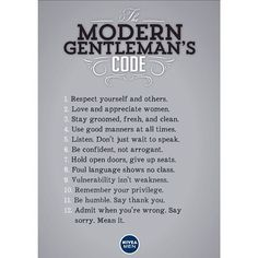 The modern gentleman's code.