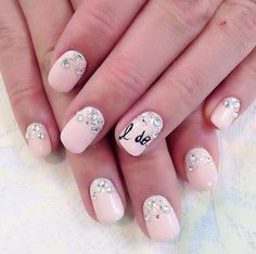 Pink Embellished Wedding Nails