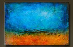 Arena y el mar    24 x 36    Abstracto pintura de acrílico sobre lienzo.    7/8 de la lona, lados son grapa gratis, pintadas de negro, listo
