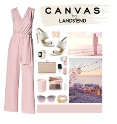 """Paint Your Look With Canvas by Lands' End: Contest Entry"" by hellodollface ❤ liked on Polyvore featuring Lands' End, Judith Leiber, Bobbi Brown Cosmetics, Chanel, Kendra Scott and Canvas by Lands' End"