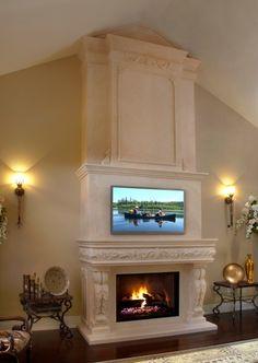 Fireplace Mantel Surrounds, Stone Fireplace Mantel, Linear Fireplace, Outdoor Fireplace Designs, Fireplace Bookshelves, Custom Fireplace, Home Fireplace, Marble Fireplaces, Fireplace Ideas