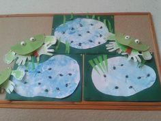 Kikker en kikkervisjes met pistachenootjes/ tadpoles made from pistachio nutshells en frogs