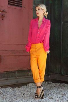Roze blouse Oranje Cropped Pantalon