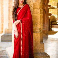 Saree designs - Red colore designer saree with moti work wedding wear saree exclusive Saree Party wear saree Bollywood Style Designer saree – Saree designs Saree Designs Party Wear, Party Wear Sarees, Saree Blouse Designs, Chiffon Saree Party Wear, Sari Blouse, Indian Fashion Dresses, Pakistani Dresses, Indian Outfits, Indian Sarees