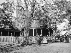 Clover Hill Tavern at Appomattox Court House after the surrender of General Lee's forces.  It was here inside this tavern that 28,231 parole passes were printed and issued to Confederate soldiers permitting them to return home undisturbed.
