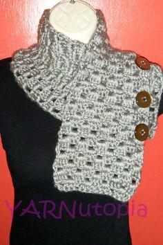 Handmade Crocheted Button Metallic Scarf Cowl Neck by YARNutopia, $25.00