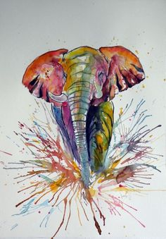 Buy Elephant in colours (52,5 x 37,5 cm), Watercolour by Kovács Anna Brigitta on Artfinder. Discover thousands of other original paintings, prints, sculptures and photography from independent artists.