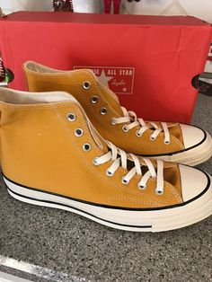 3e247124d1 Extra Off Coupon So Cheap New Converse High Top womens 8 mens 10 from the  UK sunflower yellow