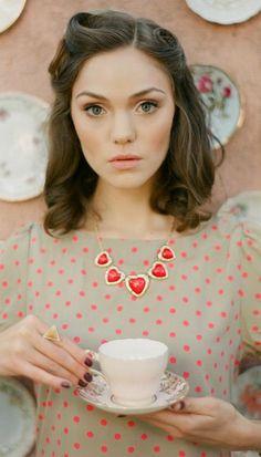 Adorable polka dots and hair!