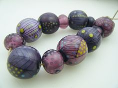 Moogin Beads - large set of autumnal purple lampwork glass beads - SRA by mooginmindy on Etsy