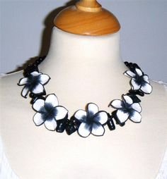 """Black & white polymer clay flower & dyed coral & glass bead necklace 19"""" long (48.5cm)"""