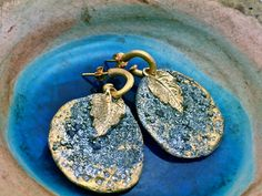 Stunning hand curved earrings Pyrite Crushed Druzy/drusy with Swarovski elements  gold leaves hanging on gold hoops.Matana Jewelry,Gift idea