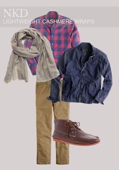 Naturally Knotty Mens Cashmere #cashmere #scarf #nkd #style #fashion #plaid #chukka #grey