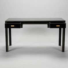 Pierre Vandel Black Lacquered and Brass Desk | From a unique collection of antique and modern desks at https://www.1stdibs.com/furniture/storage-case-pieces/desks/