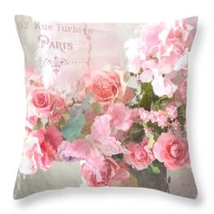 Floral Throw Pillow featuring the photograph Paris Shabby Chic Dreamy Pink Peach Impressionistic Romantic Cottage Chic Paris Flower Photography by Kathy Fornal