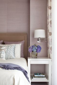 gray and taupe with orchid/lavender, grasscloth wallpaper, polished nickel sconce