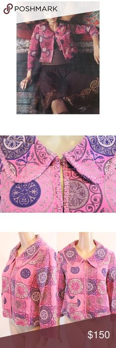 RARE ANTHROPOLOGIE Velvet Swing Jacket Condition: - Minimal wear/ piling - Excellent condition! RARE!   Noted Features: - Hook and eyes down the front, velvet texture - Pink bead embellished trim, front pockets   Measurements: Bust: 18 inches across (36 around with room), 15 inches across shoulder seam to seam  Waist: 19 inches across (38 around, free)  Length: 18 1/2 inches long  Sleeve length: 18 1/2 inches long  Size: 6  Material: 100% cotton, sleeve lining is 100% acetate Anthropologie…