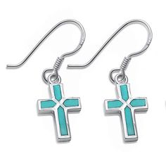 Dangle Style Turquoise Cross .925 Sterling Silver Earrings #Unbranded #DropDangle