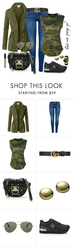 """""""AUTUMN LOOK"""" by patri-xi ❤ liked on Polyvore featuring LE3NO, Balmain, Gucci, Lord & Taylor, Givenchy and Rimmel"""
