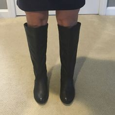 Shoedazzle Black Riding Boots Size 6 Zipper Back Shoedazzle Black Riding Boots Size 6 Zipper Back- never been worn.  Very cute but too tall for my short little legs!  Wear them with: gap skinny jean or banana republic skinny jean both listed in my closet! Shoe Dazzle Shoes